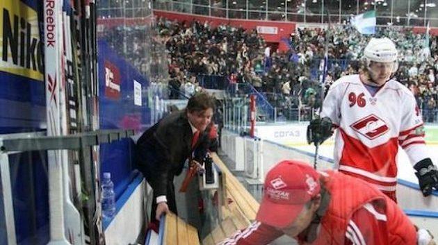 Střídačka hokejistů Spartaku Moskva