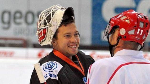 Tomáš Duba v dresu Popradu po přípravném utkání v Třinci