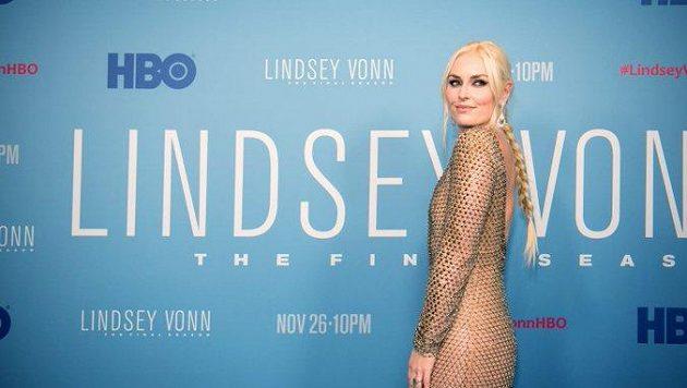 Lindsey Vonnová při premiéře dokumentu.