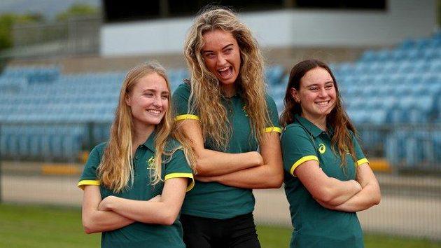Tři členky australského olympijského týmu, které budou startovat v atletice.