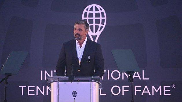 Bývalý chorvatský tenista Goran Ivaniševič při uvedení do Mezinárodní tenisové síně slávy,