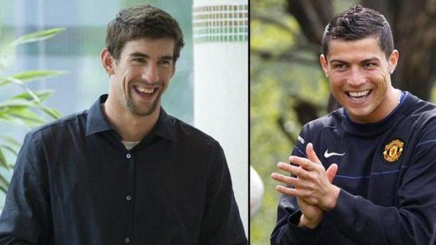 Michael Phelps (vlevo) a Cristiano Ronaldo