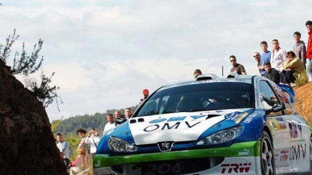 Štěpán Vojtěch sPeugeotem 206 WRC na trati Katalánské rallye