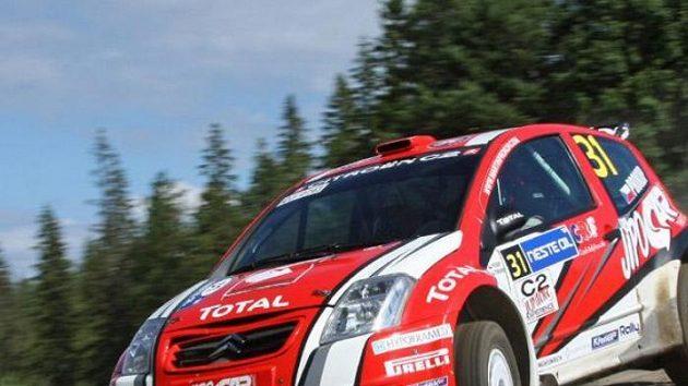 Martin Prokop při shakedownu Finské rallye.