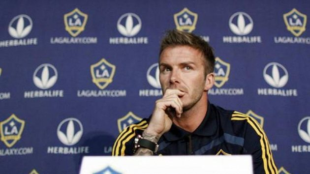 David Beckham na tiskové konferenci v Los Angeles