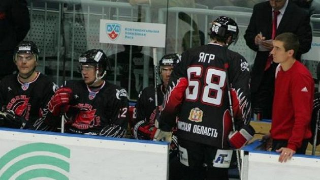 Střídačka hokejistů Omsku