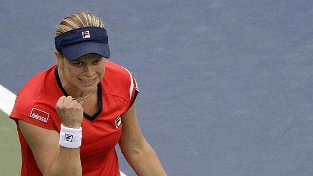 Belgická tenistka Kim Clijstersová oslavuje vítězství nad Venus Williamsovou.