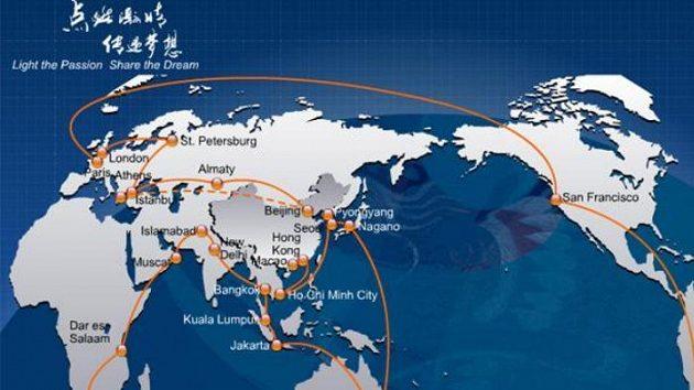 Trasa olympijské štafety, která vyvrcholí 8. srpna v Pekingu.