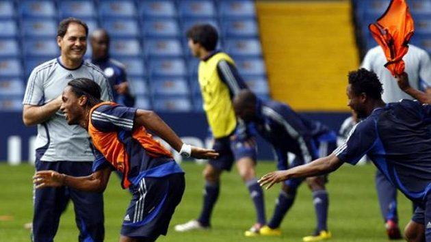 Trénink fotbalistů Chelsea.