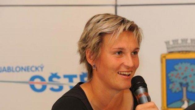 Oštěpařka Barbora Špotáková při telemostu s německou reprezentantkou Christine Obergföllovou.