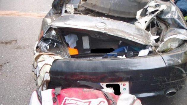 Zdemolovaný vůz BMW Jakuba Klepiše.
