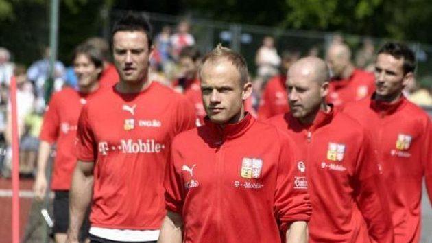 David Jarolím (uprostřed) na tréninku české reprezentace