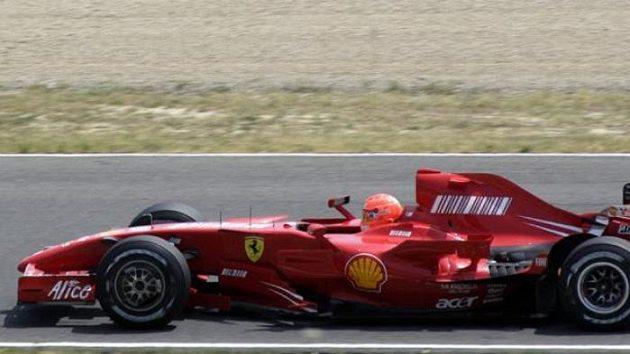 Michael Schumacher při testování Ferrari F2007 na trati Mugello