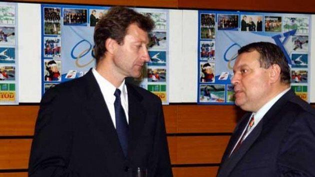 Dvě sportovní legendy: tenista Miloš Mečíř (vlevo) a dráhový cyklista Anton Tkáč.