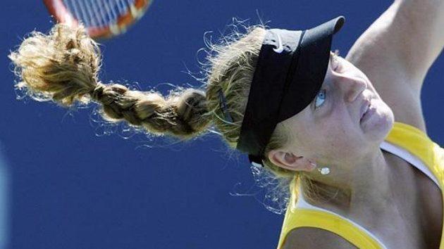 Petra Kvitová při utkání 2. kola US Open s Italkou Garbinovou.