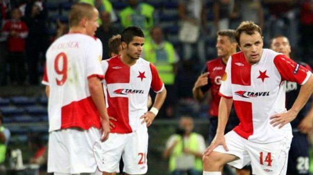 Fotbalisté Slavie během utkání v Janově