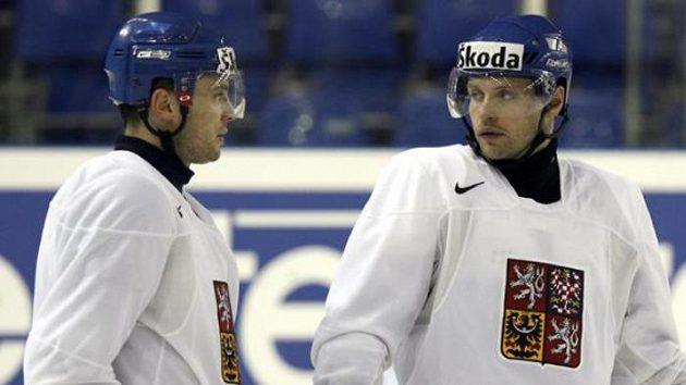 Jaroslav Hlinka (vpravo) a David Výborný na tréninku reprezentace