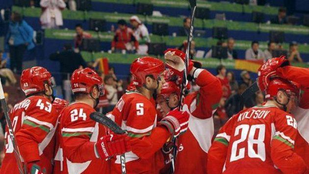 Radost běloruských hokejistů - ilustrační foto.