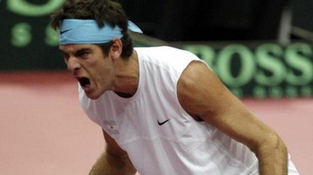 Radost argentinského tenisty Juana Martina del Potra po výhře nad Tomášem Berdychem ve čtvrtfinále Davisova poháru