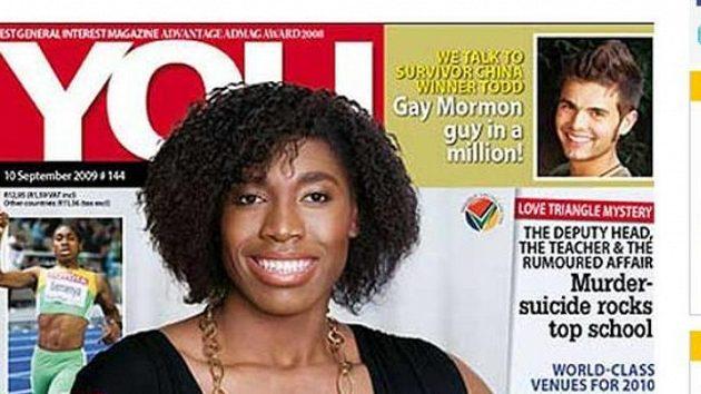 Běžkyně Caster Semenyaová na titulní straně časopisu You. Ilustrační snímek.