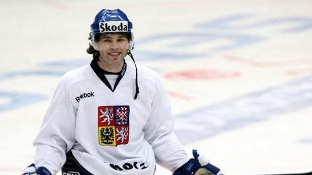 Jaromír Jágr na tréninku hokejové reprezentace v Praze