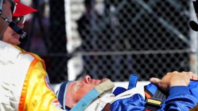 Kanadský jezdec Paul Tracy bezprostředně po havárii.