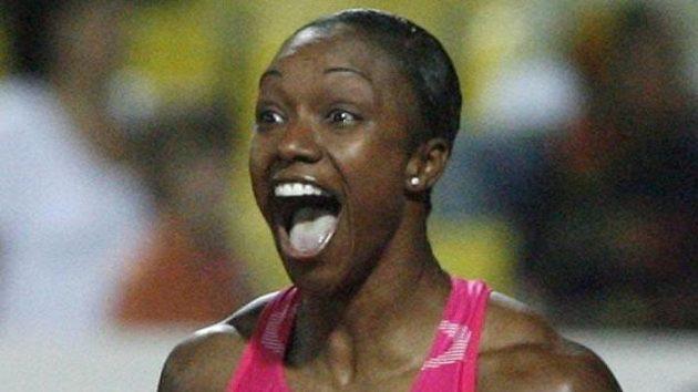 Americká sprinterka Carmelita Jeterová při Světovém atletickém finále v Soluni.