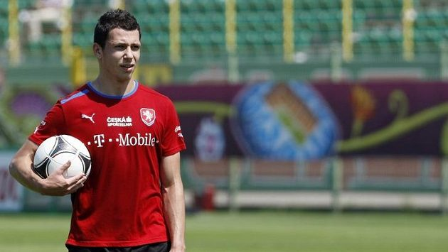 Marek Suchý na tréninku fotbalové reprezentace.