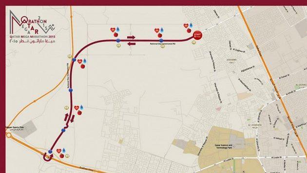 Mapa maratónského závodu, který se měl uskutečnit v Kataru.