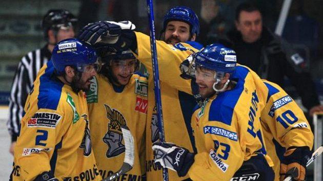 Gólová radost hokejistů Ústí nad Labem. Ilustrační foto.