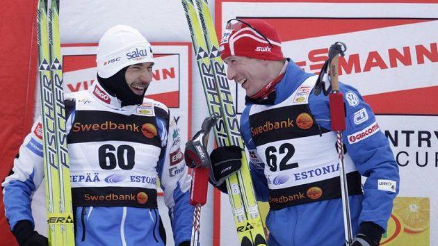 Lukáš Bauer (vpravo) a Estonec Andrus Veerpalu