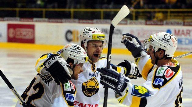 Radost hokejistů Litvínova - ilustrační foto.