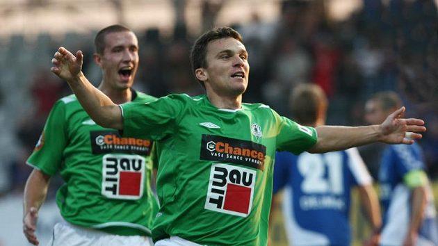 David Lafata oslavuje svůj gól do sítě Liberce