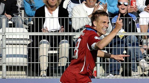 Bořek Dočkal se raduje z gólu do sítě Ukrajiny v úvodním zápase na ME v Dánsku.