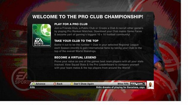Úvodní obrazovka Mistrovství profesionálních klubů. U nás ovšem v češtině!