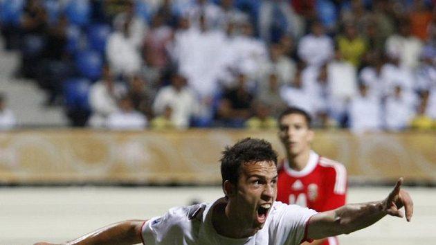 Český fotbalista do dvaceti let Jan Vošahlík se raduje z branky do sítě Maďarska v osmifinále mistrovství světa.