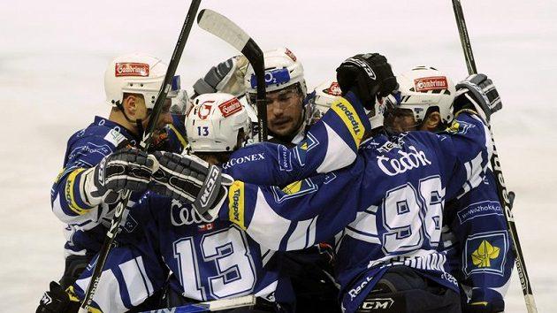 Radost plzeňských hokejistů po vstřelení branky