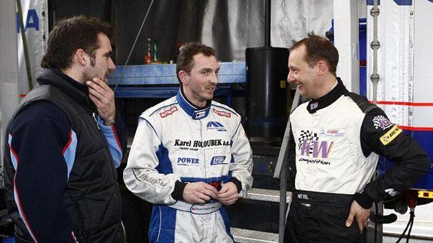 Šéf týmu Buggyra Jan Kalivoda, David Vršecký a německý závodník Uwe Nittel.