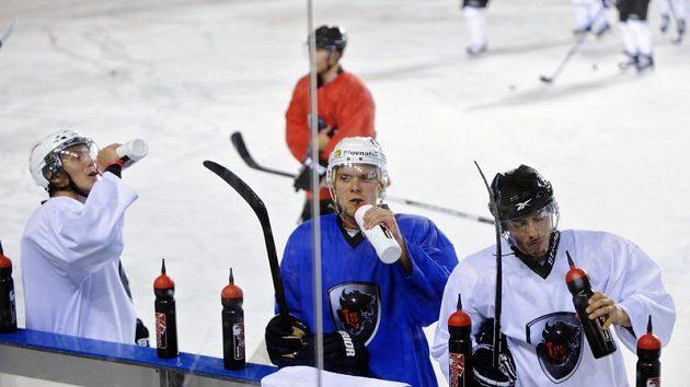 Hokejisté týmu HC Lev během tréninku v Popradu