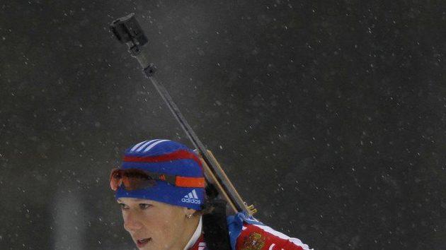 Ruská biatlonistka Olga Zajcevová při čtvrtečním závodě.