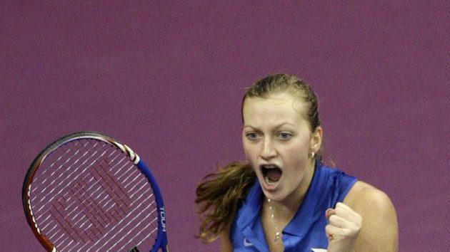 Česká tenistka Petra Kvitová se raduje z vítězství nad Andreou Petkovicovou z Německa - ilustrační foto.