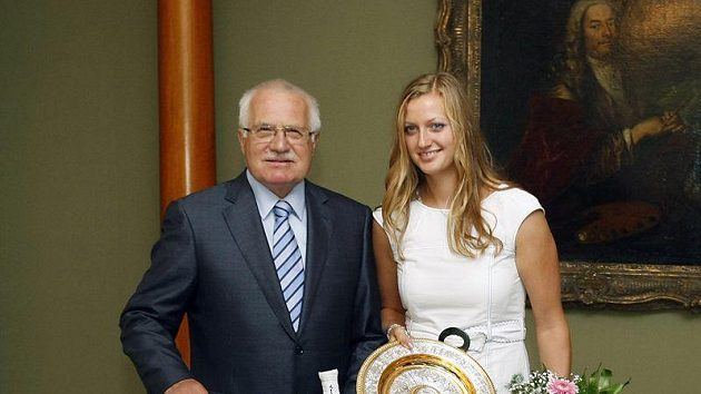 Prezident Václav Klaus a tenistka Petra Kvitová