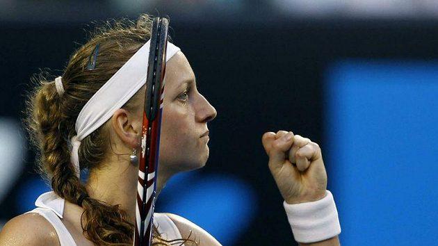 Radost Petry Kvitové během zápasu s Australankou Stosurovou.