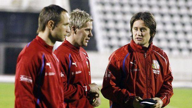 Jan Polák, Tomáš Hübschman a Tomáš Rosický na tréninku národního týmu.