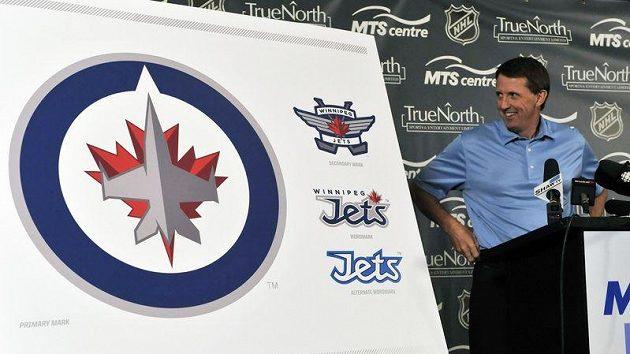 Odhalování nového znaku klubu NHL Winnipeg Jets