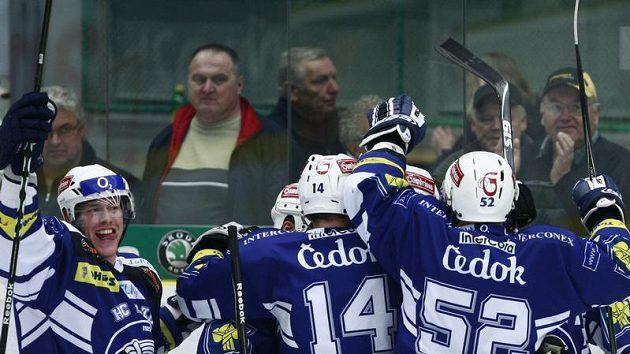 Radost plzeňských hokejistů z výhry nad Mladou Boleslaví