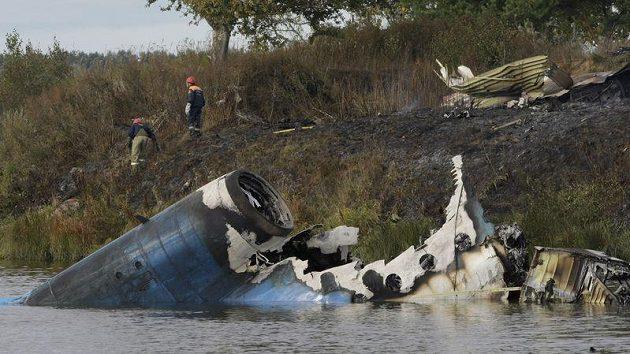 Trosky letadla, ve kterém zahynuli hokejisté Jaroslavle.