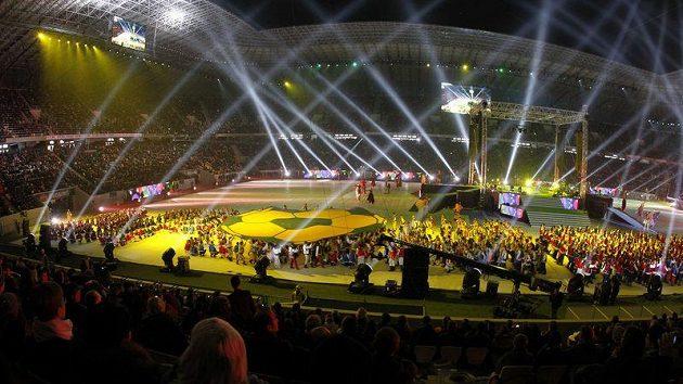 Slavnostní otevření stadiónu v ukrajinském Lvově.