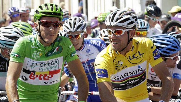Philippe Gilbert a dosud vedoucí závodník Thor Hushovd před úterní etapou Tour.