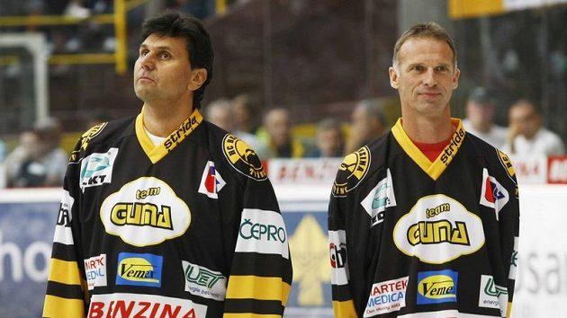 Dominik Hašek (vpravo) a Vladimír Růžička